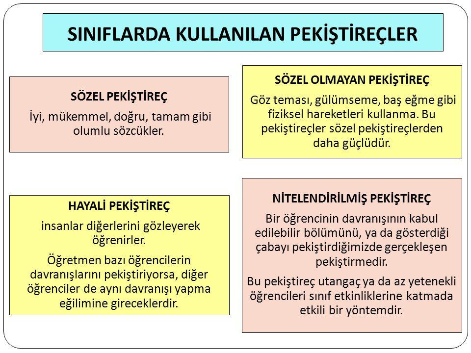 SINIFLARDA KULLANILAN PEKİŞTİREÇLER