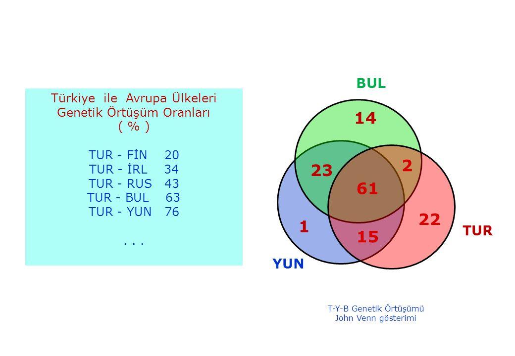 BUL BUL. Türkiye ile Avrupa Ülkeleri. Genetik Örtüşüm Oranları. ( % ) TUR - FİN 20. TUR - İRL 34.