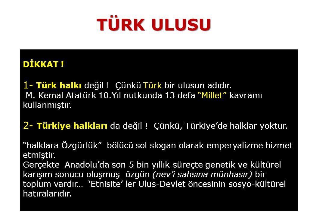 TÜRK ULUSU 1- Türk halkı değil ! Çünkü Türk bir ulusun adıdır.