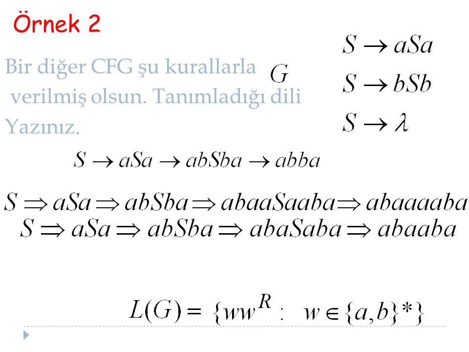 Örnek 2 Bir diğer CFG şu kurallarla verilmiş olsun. Tanımladığı dili