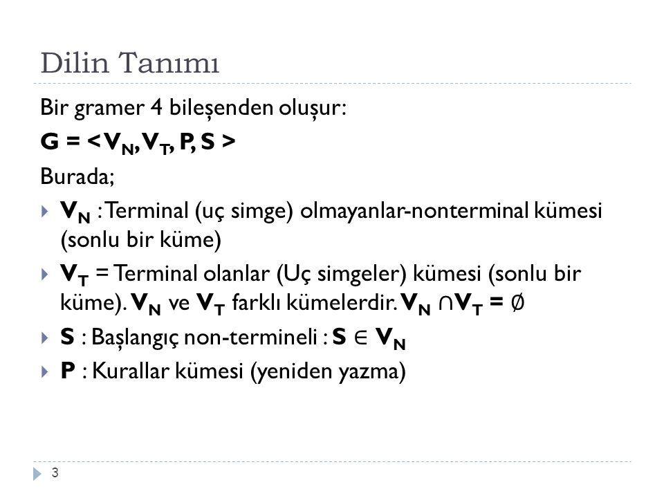 Dilin Tanımı Bir gramer 4 bileşenden oluşur: