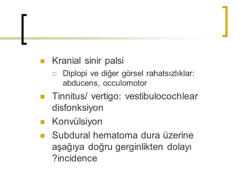 Tinnitus/ vertigo: vestibulocochlear disfonksiyon Konvülsiyon