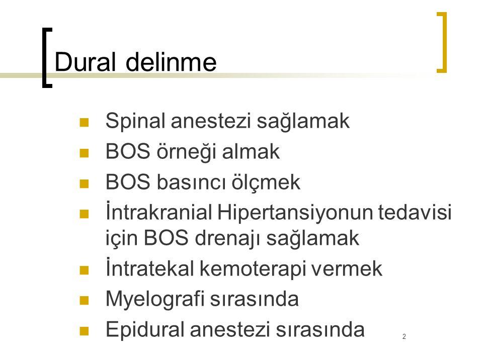 Dural delinme Spinal anestezi sağlamak BOS örneği almak