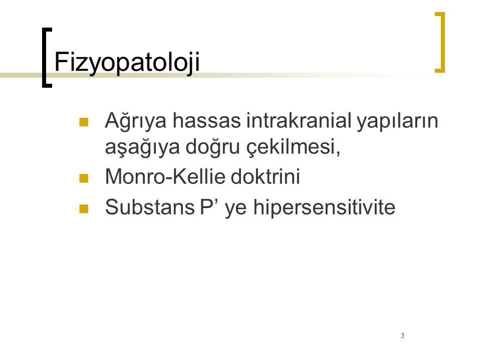 Fizyopatoloji Ağrıya hassas intrakranial yapıların aşağıya doğru çekilmesi, Monro-Kellie doktrini.