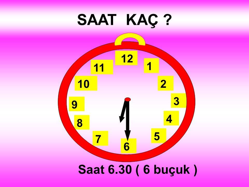 SAAT KAÇ 1 2 3 4 5 12 11 10 6 9 8 7 Saat 6.30 ( 6 buçuk )