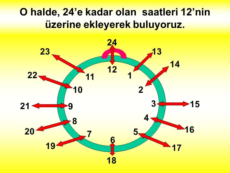 O halde, 24'e kadar olan saatleri 12'nin üzerine ekleyerek buluyoruz.