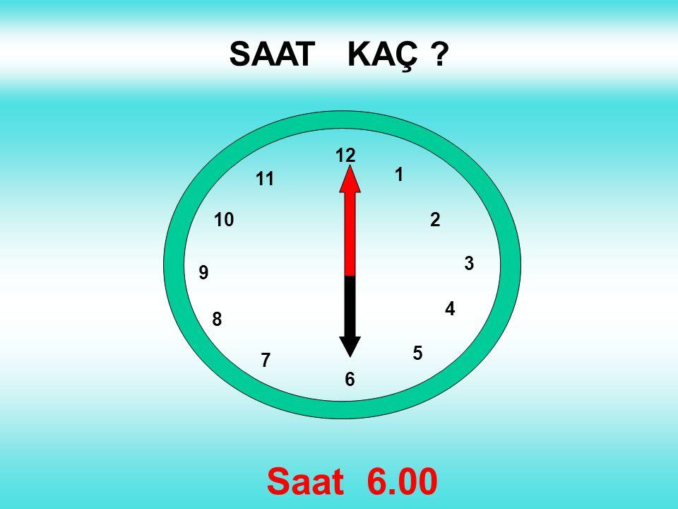 SAAT KAÇ 1 2 3 4 5 12 11 10 6 9 8 7 Saat 6.00