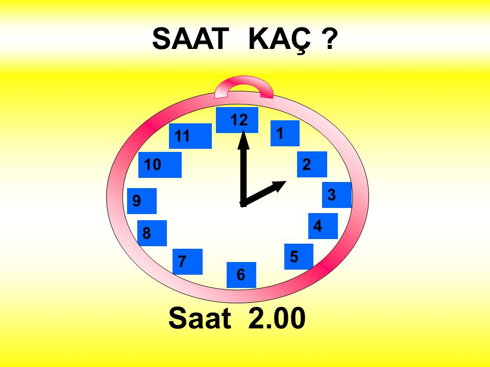 SAAT KAÇ Saat 2.00 1 2 3 4 5 12 11 10 6 9 8 7