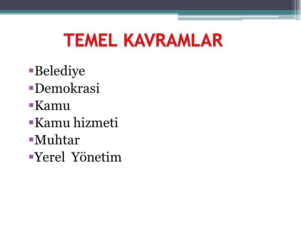 TEMEL KAVRAMLAR Belediye Demokrasi Kamu Kamu hizmeti Muhtar