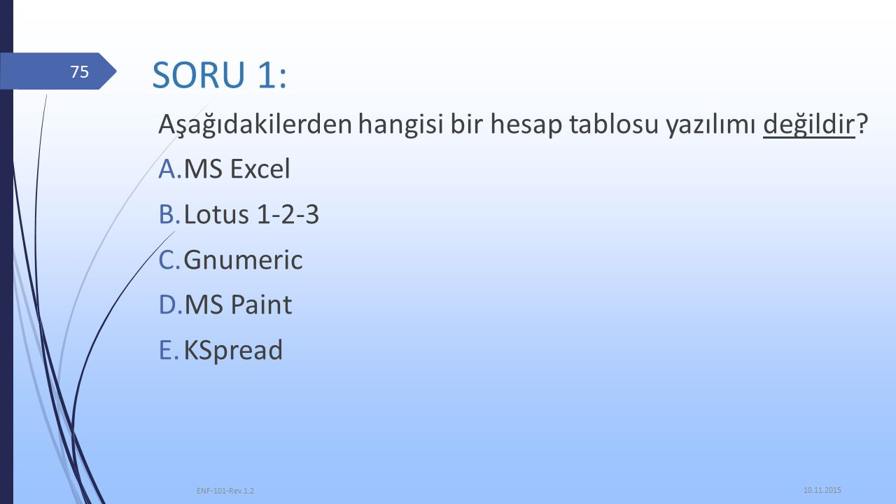 SORU 1: Aşağıdakilerden hangisi bir hesap tablosu yazılımı değildir