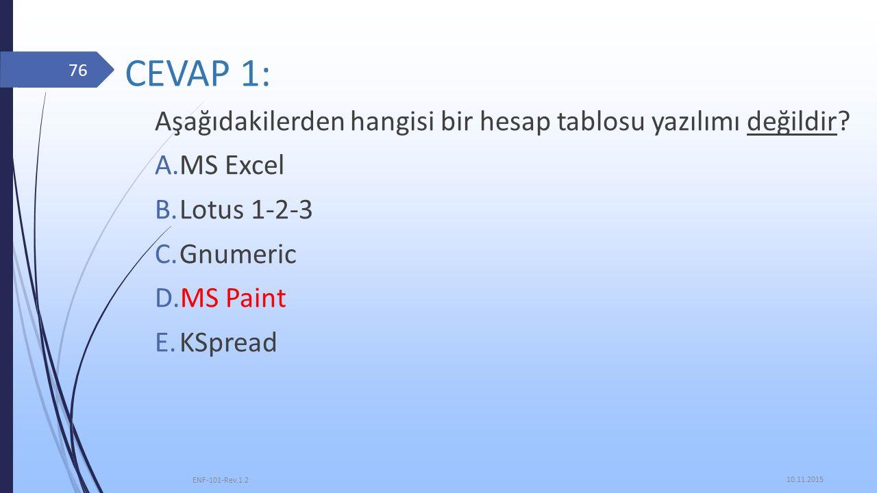 CEVAP 1: Aşağıdakilerden hangisi bir hesap tablosu yazılımı değildir