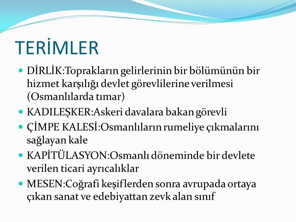 TERİMLER DİRLİK:Toprakların gelirlerinin bir bölümünün bir hizmet karşılığı devlet görevlilerine verilmesi (Osmanlılarda tımar)