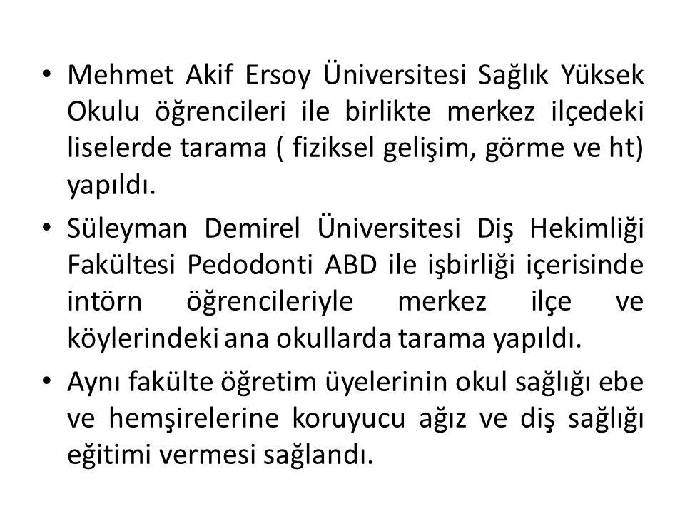 Mehmet Akif Ersoy Üniversitesi Sağlık Yüksek Okulu öğrencileri ile birlikte merkez ilçedeki liselerde tarama ( fiziksel gelişim, görme ve ht) yapıldı.