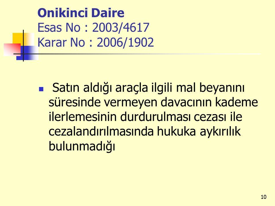 Onikinci Daire Esas No : 2003/4617 Karar No : 2006/1902