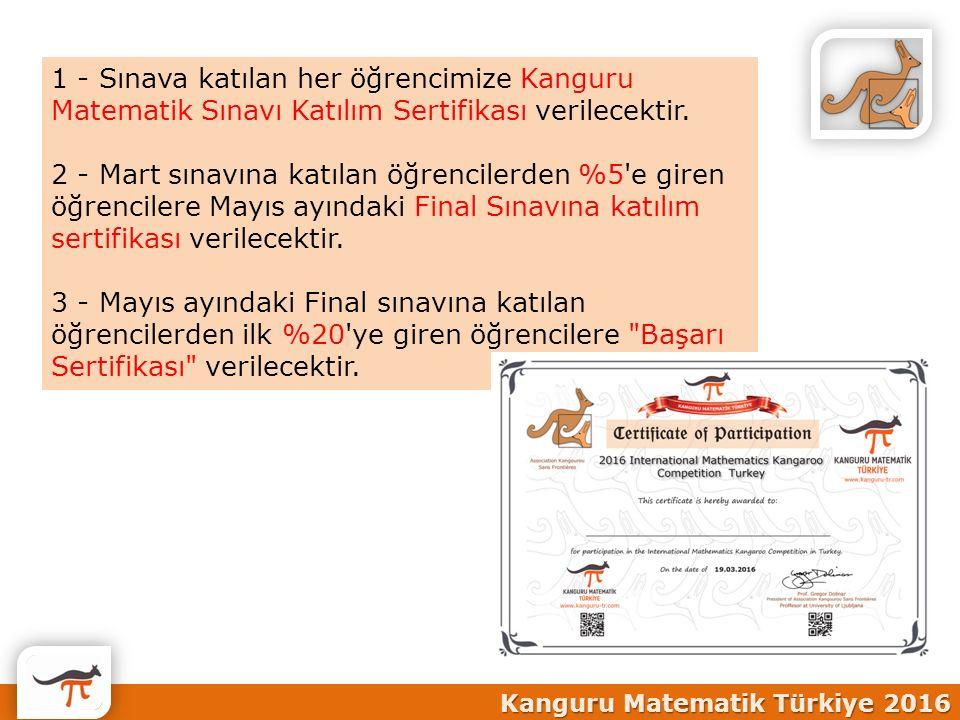1 - Sınava katılan her öğrencimize Kanguru Matematik Sınavı Katılım Sertifikası verilecektir.
