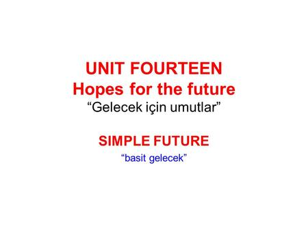 "UNIT FOURTEEN Hopes for the future ""Gelecek için umutlar"""
