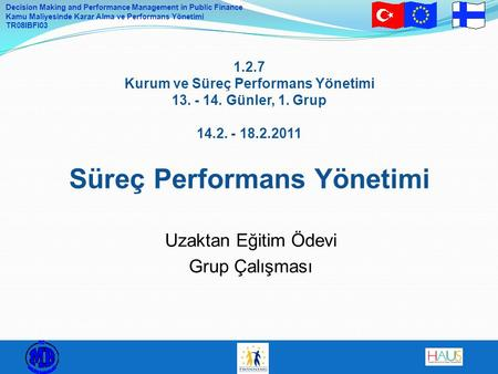 Decision Making and Performance Management in Public Finance Kamu Maliyesinde Karar Alma ve Performans Yönetimi TR08IBFI03 1.2.7 Kurum ve Süreç Performans.