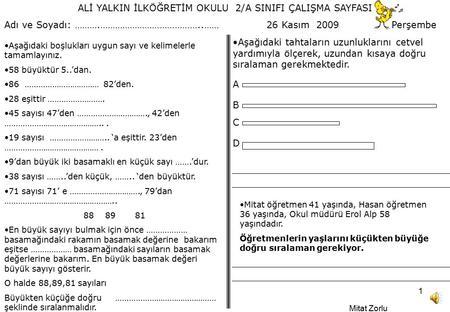 Ali Yalkin Ilkogretim Okulu 2 A Sinifi Calisma Sayfasi Ppt Indir
