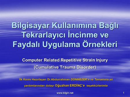 Computer Related Repetitive Strain Injury (Cumulative Trauma Disorder)