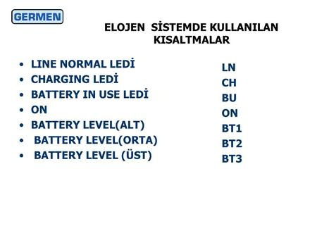ELOJEN SİSTEMDE KULLANILAN KISALTMALAR •LINE NORMAL LEDİ •CHARGING LEDİ •BATTERY IN USE LEDİ •ON •BATTERY LEVEL(ALT) • BATTERY LEVEL(ORTA) • BATTERY LEVEL.