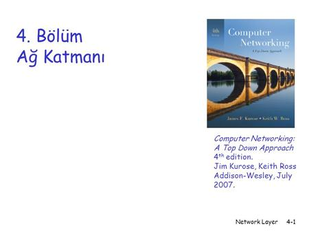 Network Layer4-1 4. Bölüm Ağ Katmanı Computer Networking: A Top Down Approach 4 th edition. Jim Kurose, Keith Ross Addison-Wesley, July 2007.