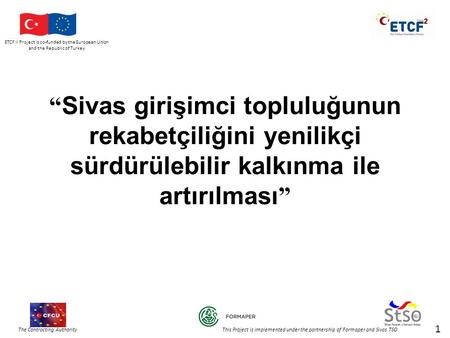 ETCF II Project is co-funded by the European Union and the Republic of Turkey The Contracting Authority This Project is implemented under the partnership.
