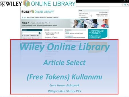 (Free Tokens) Kullanımı Wiley Online Library VTS