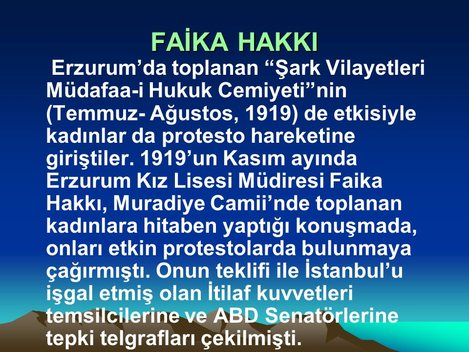 FAİKA HAKKI    1919'un Kasım ayında Erzurum Kız Lisesi Müdiresi Faika Hakkı, ile ilgili görsel sonucu