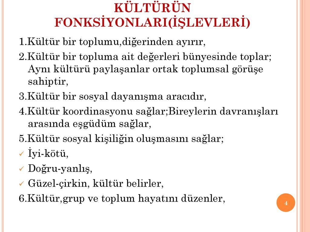 Kültürün sosyal fonksiyonları