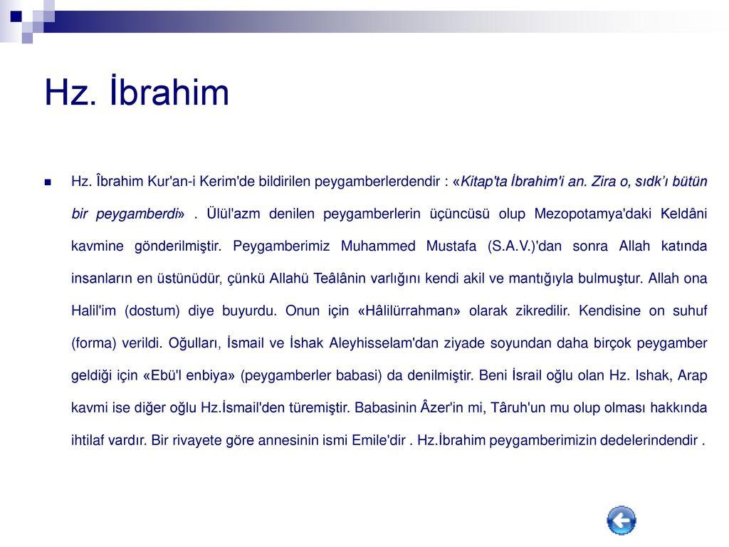 Hz İbrahim hayatı kısaca bilgi ve özeti