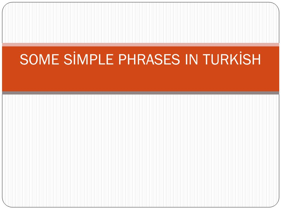 SOME SİMPLE PHRASES IN TURKİSH