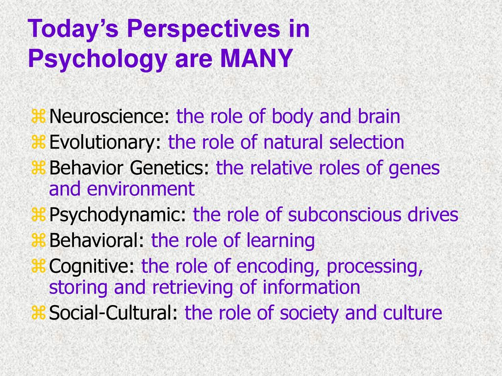 different perspectives in psychology coexist rather 290534567: c) psychology is a broader field, covering all aspects of behavior and mental processes psychology is different from other disciplines, such as psychiatry, that deal with people because a) psychology focuses only on animal research.