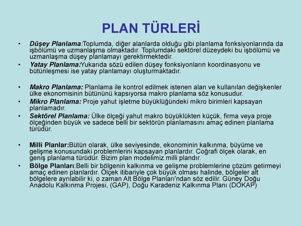 Temel planlama türleri
