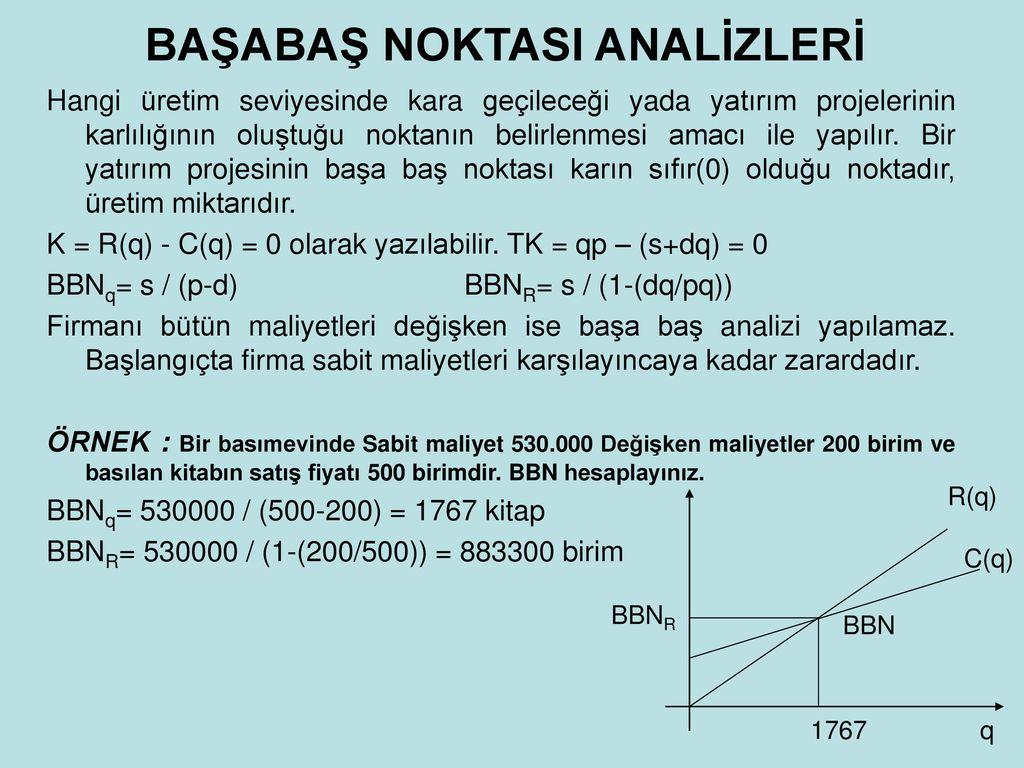 İşletmedeki üretim maliyetinin analizi