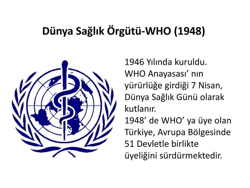 Dünya Sağlık Örgütü (WHO): tüzük, hedefler, normlar, öneriler