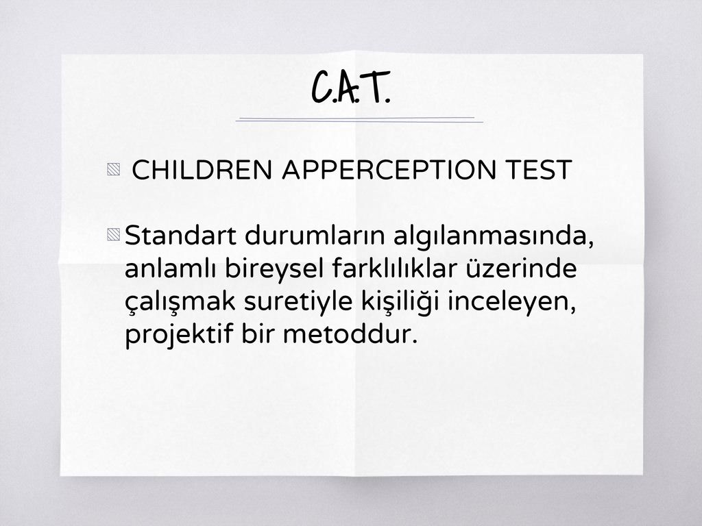 Apperception ... Psikolojide algı. Apperception - test