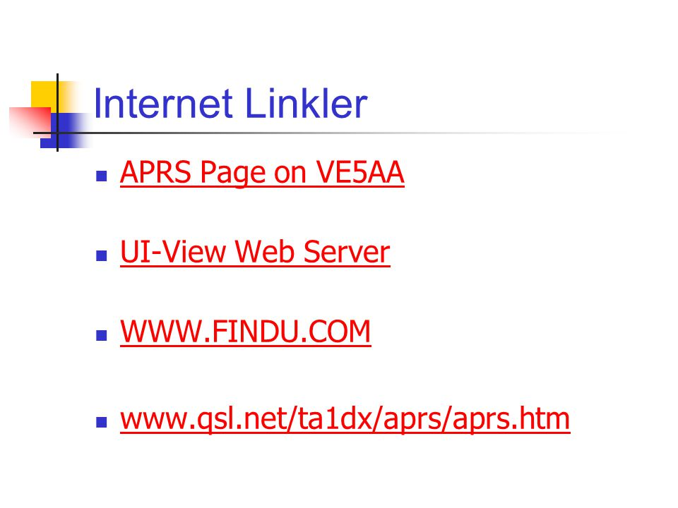 Internet Linkler APRS Page on VE5AA UI-View Web Server WWW.FINDU.COM