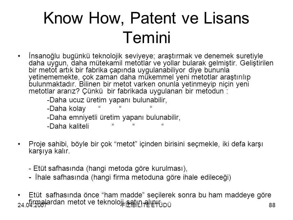 Know How, Patent ve Lisans Temini