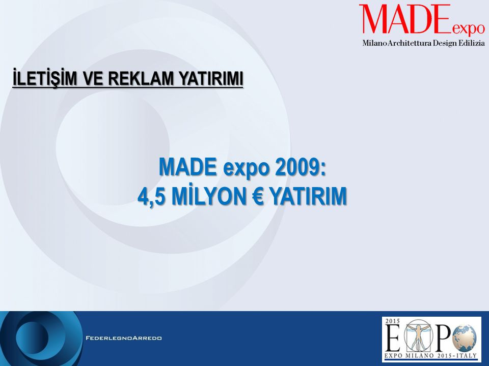 MADE expo 2009: 4,5 MİLYON € YATIRIM