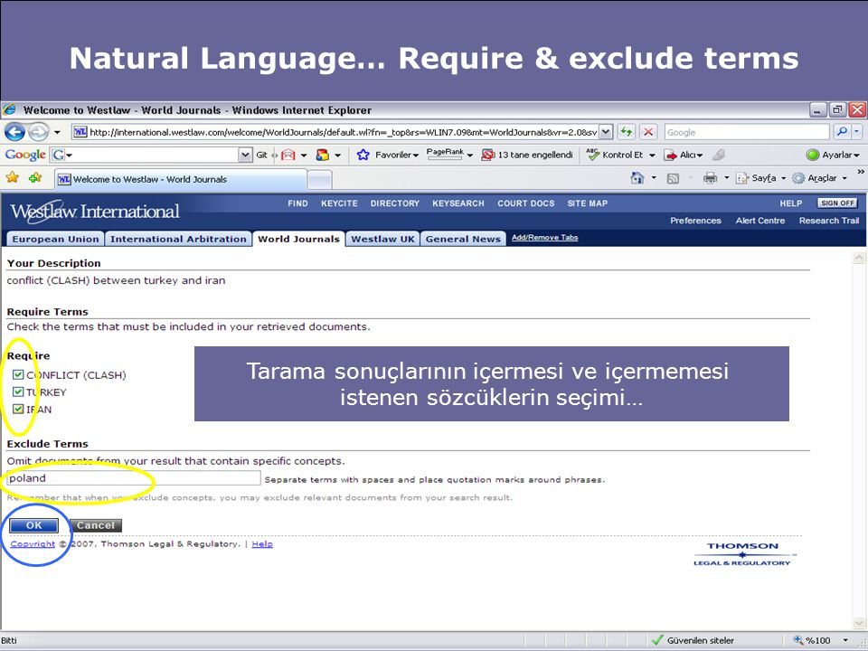 Natural Language… Require & exclude terms