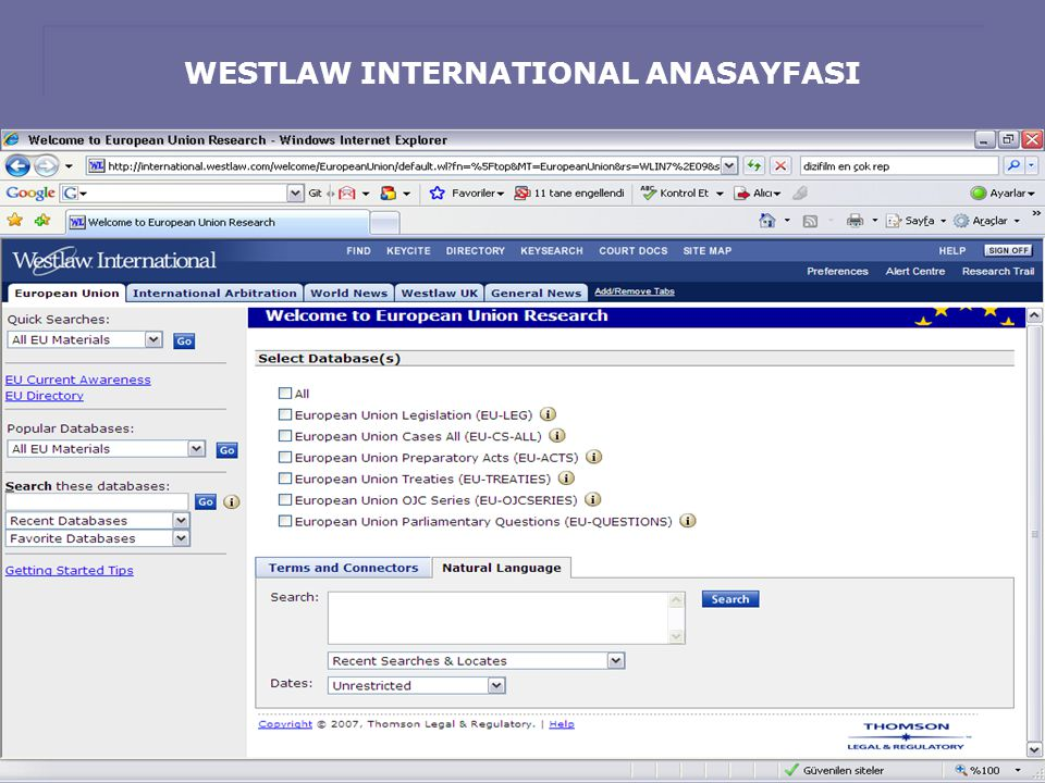 WESTLAW INTERNATIONAL ANASAYFASI