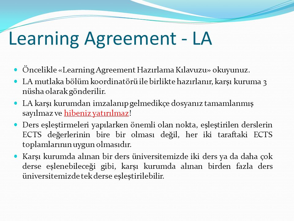 Learning Agreement - LA