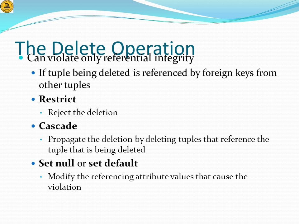 The Delete Operation Can violate only referential integrity