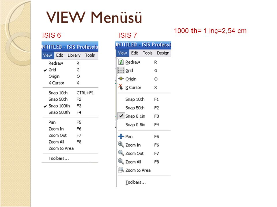 VIEW Menüsü 1000 th= 1 inç=2,54 cm ISIS 6 ISIS 7