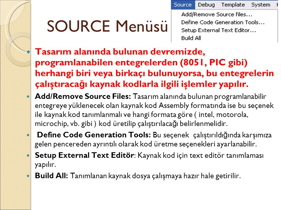 SOURCE Menüsü