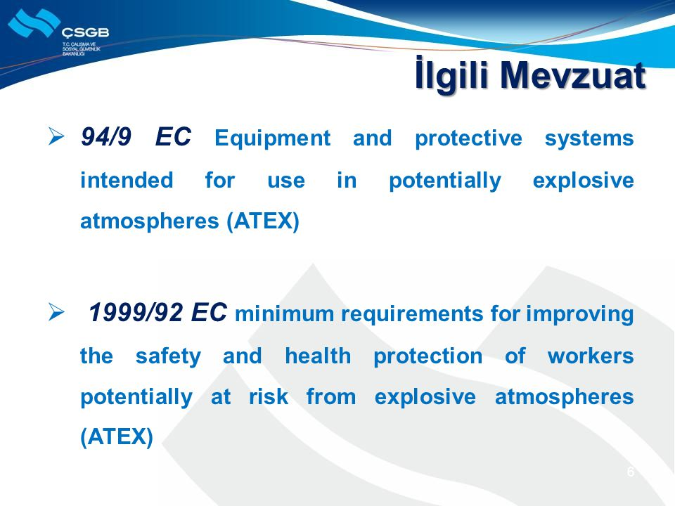 İlgili Mevzuat 94/9 EC Equipment and protective systems intended for use in potentially explosive atmospheres (ATEX)