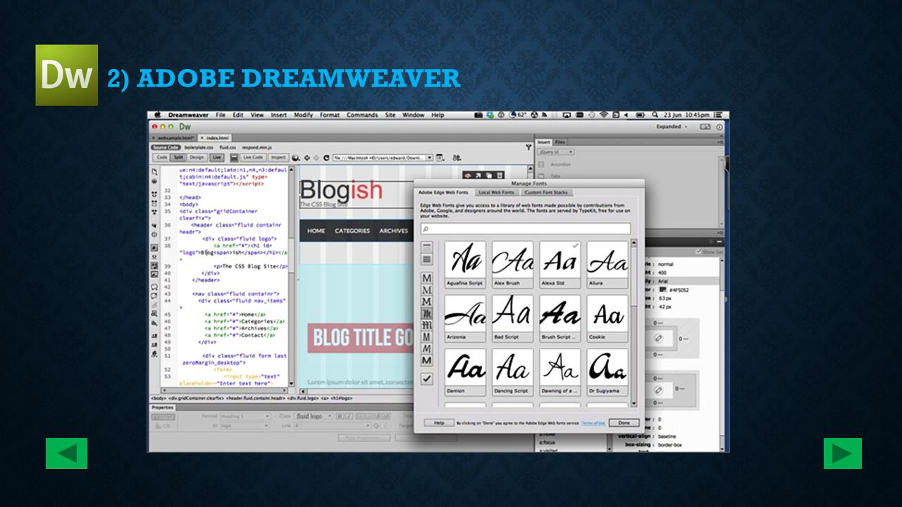 2) ADOBE DREAMWEAVER