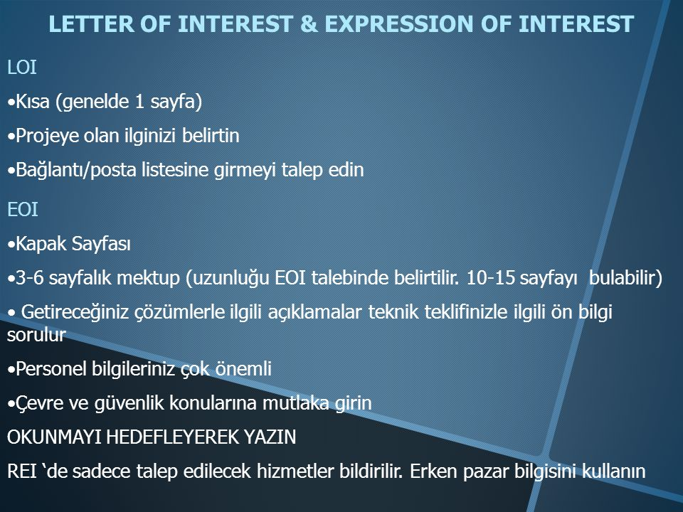 LETTER OF INTEREST & EXPRESSION OF INTEREST
