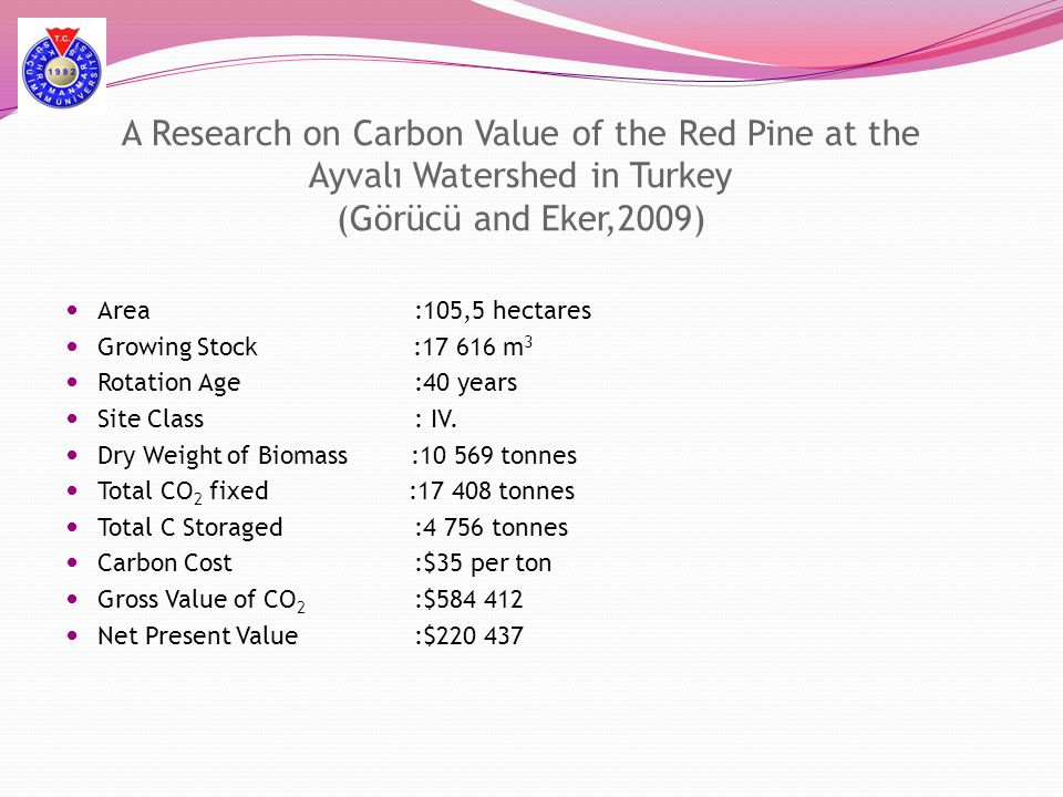 A Research on Carbon Value of the Red Pine at the Ayvalı Watershed in Turkey (Görücü and Eker,2009)
