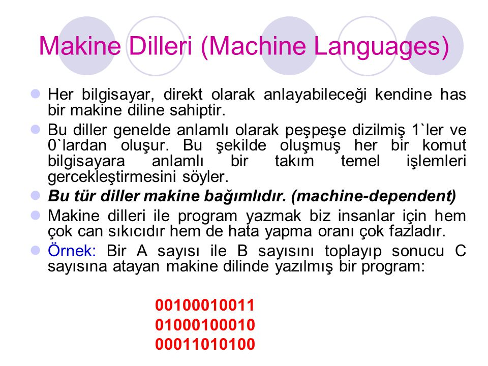Makine Dilleri (Machine Languages)